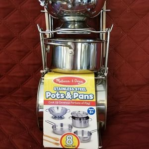 MELISSA AND DOUG STAINLESS STEEL POTS